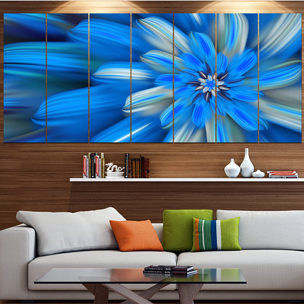 Designart Exotic Dance Of Blue Flower Petals Floral Canvas Art Print - 5 Panels
