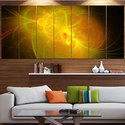 Design Art Distant Golden Space Nebula Floral Canvas Art Print - 7 Panels