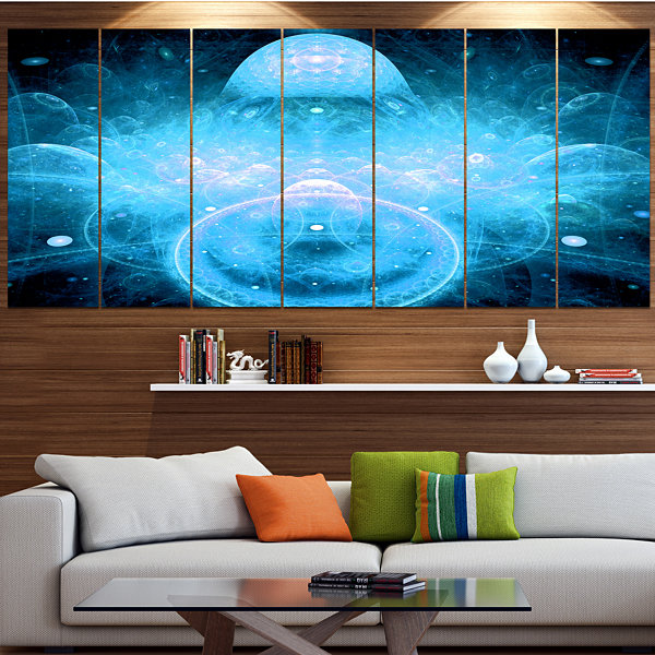Designart Infinite Light Blue Universe Large Floral Canvas Art Print - 5 Panels