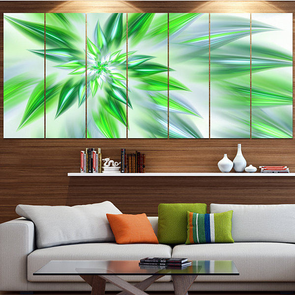 Designart Exotic Dance Of Green Petals Floral Canvas Art Print - 6 Panels