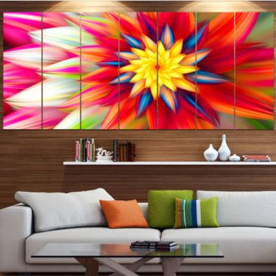 Designart Amazing Dance Of Red Petals Floral Canvas Art Print - 5 Panels