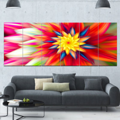 Amazing Dance Of Red Petals Floral Canvas Art Print - 6 Panels