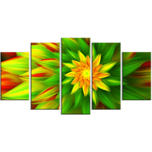 Design Art Amazing Dance Of Green Petals Green Floral Canvas Art Print - 5 Panels