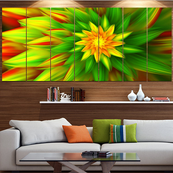 Designart Amazing Dance Of Green Petals Floral Canvas Art Print - 5 Panels