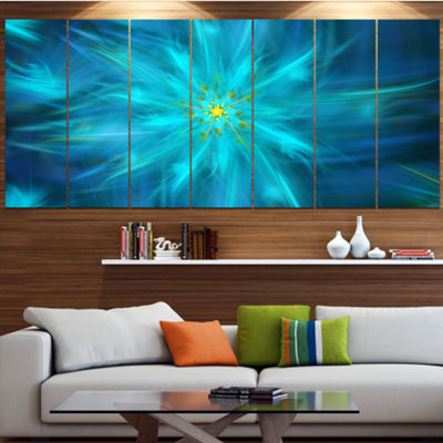 Designart Amazing Dance Of Blue Petals Blue FloralCanvas Art Print - 5 Panels