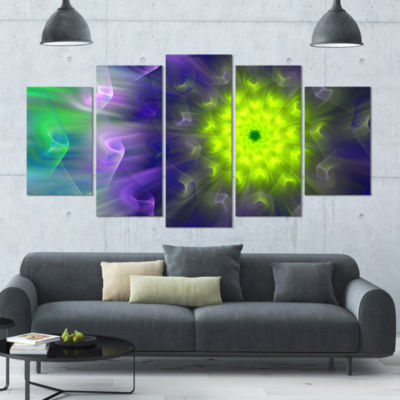 Amazing Dance Of Exotic Petals Large Floral CanvasArt Print - 5 Panels