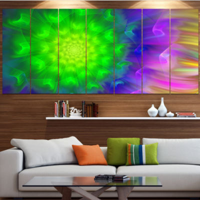 Designart Spectacular Green Dandelion Floral Canvas Art Print - 5 Panels