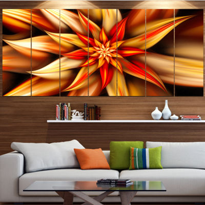 Designart Beautiful Brown Flower Petals Floral Canvas Art Print - 6 Panels