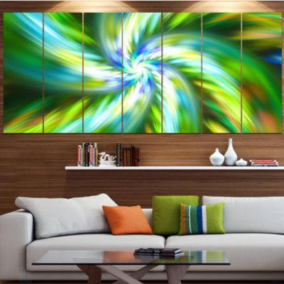 Designart Beautiful Green Flower Petals Floral Canvas Art Print - 4 Panels