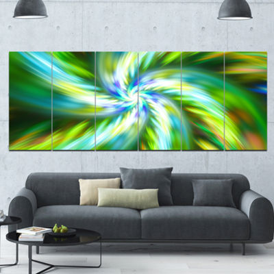 Designart Beautiful Green Flower Petals Floral Canvas Art Print - 6 Panels
