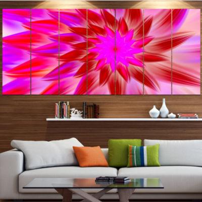 Design Art Beautiful Pink Flower Petals Floral Canvas Art Print - 6 Panels