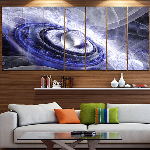 Designart Beautiful Blue Flying Saucer Floral Canvas Art Print - 6 Panels