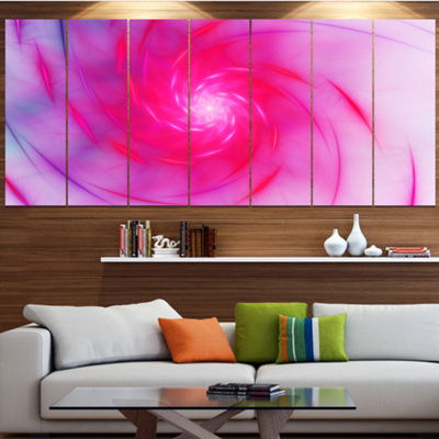 Designart Beautiful Fractal Pink Whirlpool Pink Floral Canvas Art Print - 5 Panels