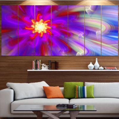 Designart Beautiful Purple Flower Petals Large Floral Canvas Art Print - 5 Panels