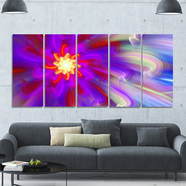 Designart Beautiful Purple Flower Petals Floral Canvas Art Print - 5 Panels