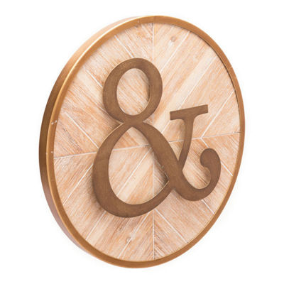 Appersand Round Fir Wood and Steel Wall Decor