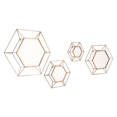 Set of 4 Hexagon Mirrors