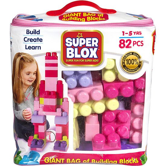 Cra-Z-Art Super Blox 82 Piece Buidling Block Kit -Girls (Pink)