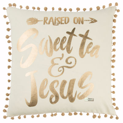 Simply Southern By Rizzy Home Maria White Decorative Pillow