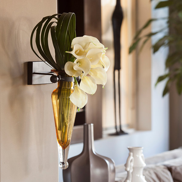 Danya B.  Amphora Vase on Iron Sconce with Finials