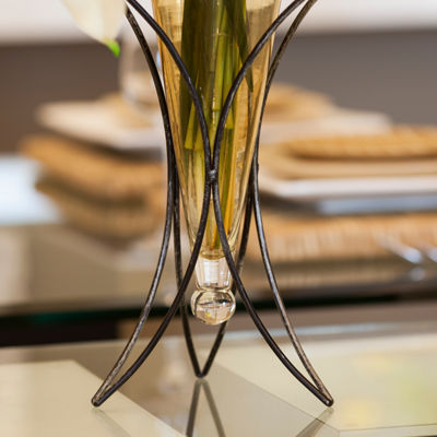 Danya B.  Amphora Vase on Half Moon Metal Stand