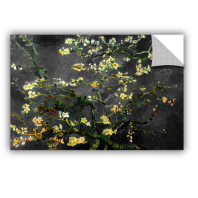 Brushstone Almond Blossom-Interpretation in Dahilia Black Removable Wall Decal