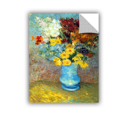Brushtone Flowers In Blue Vase Removable Wall Decal