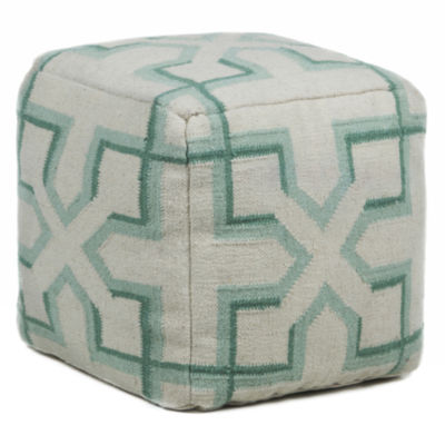 Chandra Fret Textured Square Wool Pouf Ottoman