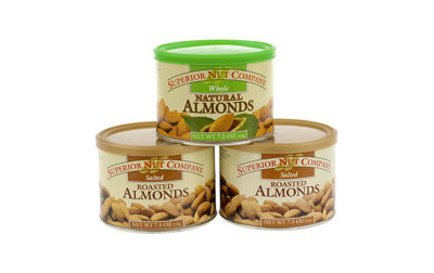 Superior Nut Salted Roasted Almonds and Whole Natural Almonds 7.5oz 3 Pack