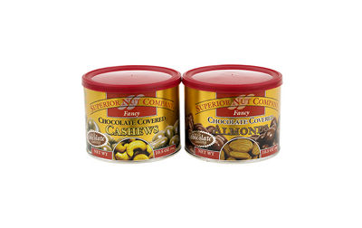 Superior Nut Fancy Chocolate Covered Cashews and Chocolate Covered Almonds 10.5oz 2 Pack