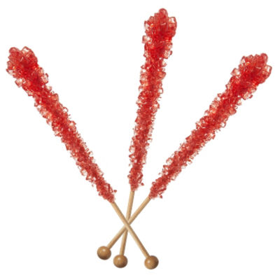 Red Strawberry Rock Candy Sticks 12 Count
