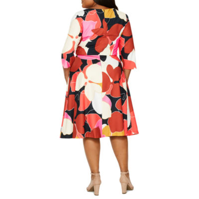 Tracee Ellis Ross for JCP Glorious Elbow Sleeve Floral Fit & Flare Dress-Plus