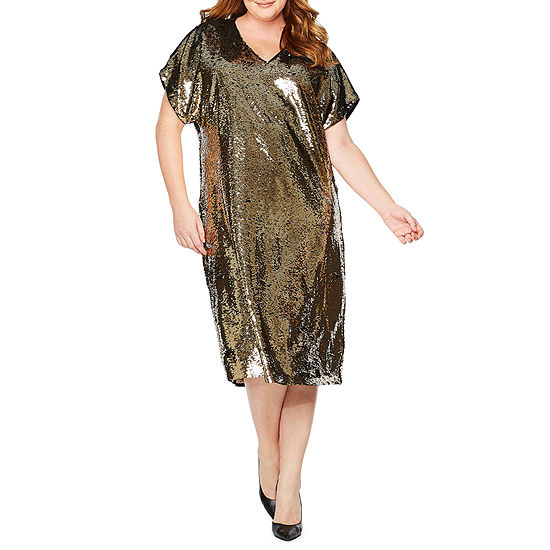 Tracee Ellis Ross for JCP Glow Short-Sleeve Reversible Sequin Dress - Plus