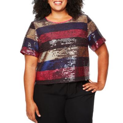 Tracee Ellis Ross for JCP Festive Short-Sleeve Sequin Top - Plus