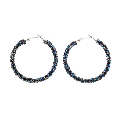 Bijoux Bar Blue 2 Inch Hoop Earrings