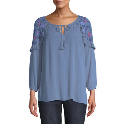 St. John's Bay Womens Split Crew Neck 3/4 Sleeve Embroidered Peasant Top