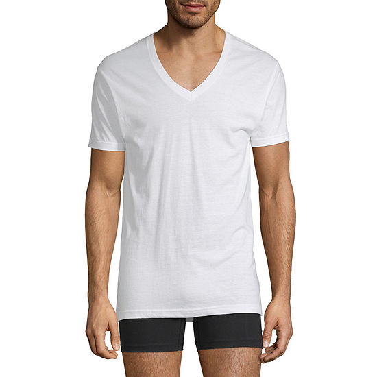 Stafford 4 Pack Dry+Cool Blended V-Neck T-Shirts