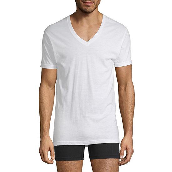 Stafford Dry+Cool Mens 4 Pack Short Sleeve V Neck T-Shirt