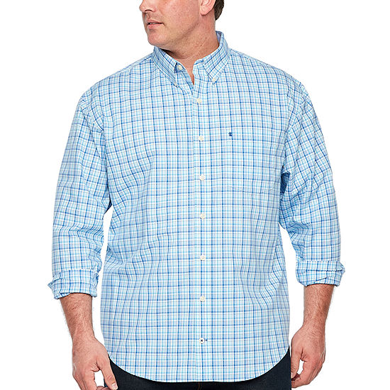 Izod Premium Essential Woven Long Sleeve Button Front Shirt Big And Tall