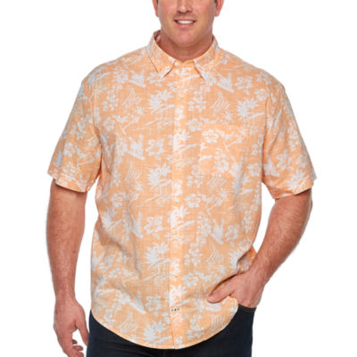 IZOD Saltwater - Dockside Chambray Mens Short Sleeve Button-Front Shirt Big and Tall