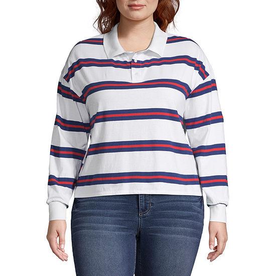 Arizona Womens Long Sleeve Polo Shirt Juniors Plus