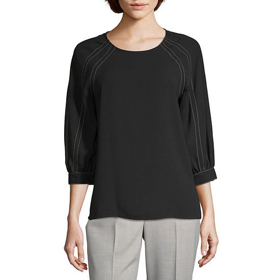 Worthington Womens Round Neck 3/4 Sleeve Blouse