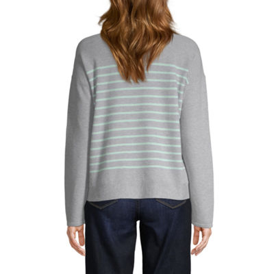 St. John's Bay Womens Round Neck Long Sleeve Stripe Pullover Sweater