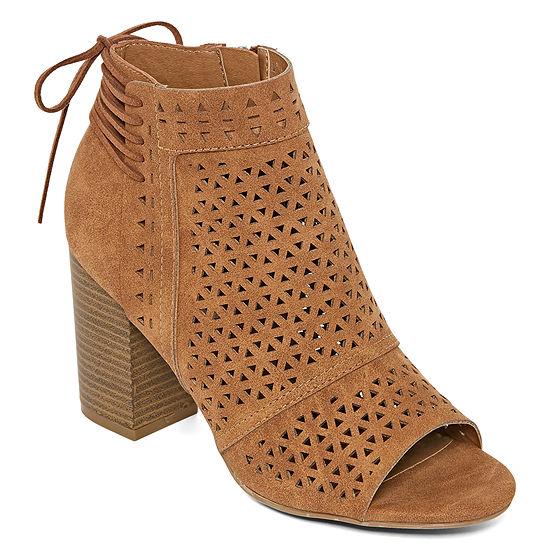 Pop Womens Formentera Stacked Heel Zip Booties
