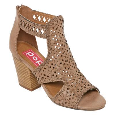 Pop Womens Guapo Stacked Heel Zip Booties