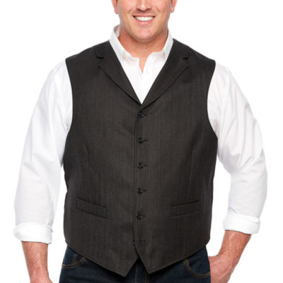 Stafford Merino Stretch Charcoal Herringbone Classic Fit Suit Vest - Big and Tall