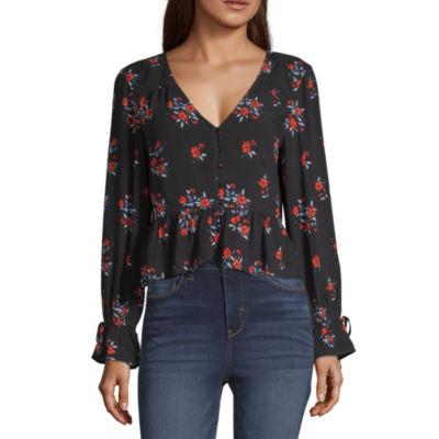 Arizona Womens Long Sleeve Modern Fit Button-Front Shirt-Juniors