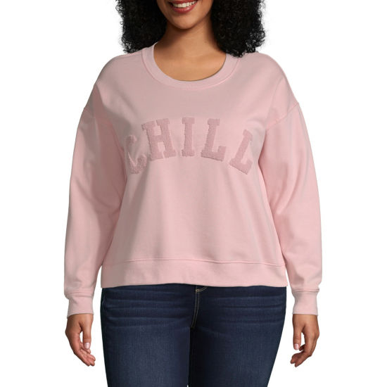 Arizona Womens Round Neck Long Sleeve Sweatshirt Juniors