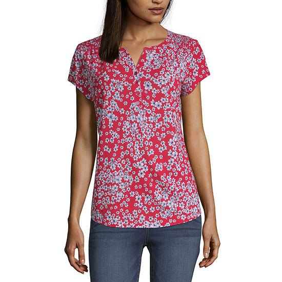 4ef405d80 Liz Claiborne Henley Neck Short Sleeve T-Shirt -Womens - JCPenney