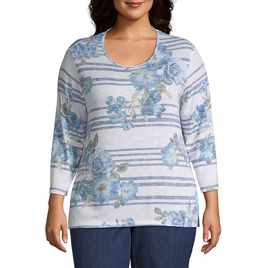Alfred Dunner Greenwich Hills Stripe Floral Tee - Plus